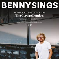 Benny Sings at The Garage on Wednesday 30th October 2019