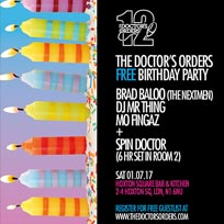 The Doctor's Orders 12th Birthday Party at Hoxton Square Bar & Kitchen on Saturday 1st July 2017