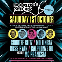 Doctor's Orders Residents Special at Book Club on Saturday 1st October 2016