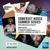 Don Letts Presents Bass Forward at Somerset House on Saturday 7th July 2018