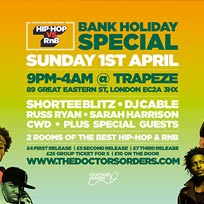 Hip-Hop vs RnB Bank Holiday Rave at Trapeze on Sunday 1st April 2018