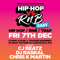 Hip Hop vs RnB at Trapeze on Friday 7th December 2018