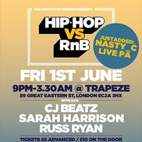 Hip Hop vs RnB at Trapeze on Friday 1st June 2018
