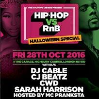 Hip Hop vs RnB at The Garage on Friday 28th October 2016