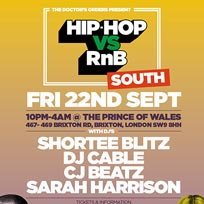 Hip-Hop vs RnB - South at Prince of Wales on Friday 22nd September 2017