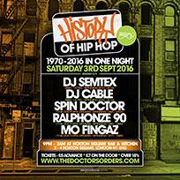 History of Hip Hop at Hoxton Bar & Kitchen on Saturday 3rd September 2016