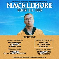 Macklemore at SJM Concerts on Saturday 7th April 2018