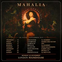 Mahalia at The Roundhouse on Monday 25th November 2019