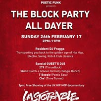 Block Party All Dayer at East Dulwich Tavern on Sunday 26th February 2017