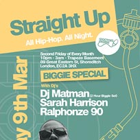 Straight Up - Biggie Special at Trapeze on Friday 9th March 2018