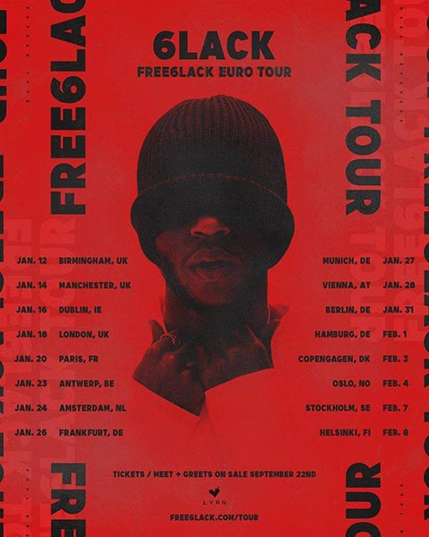 6LACK at Electric Brixton on Thu 18th January 2018 Flyer