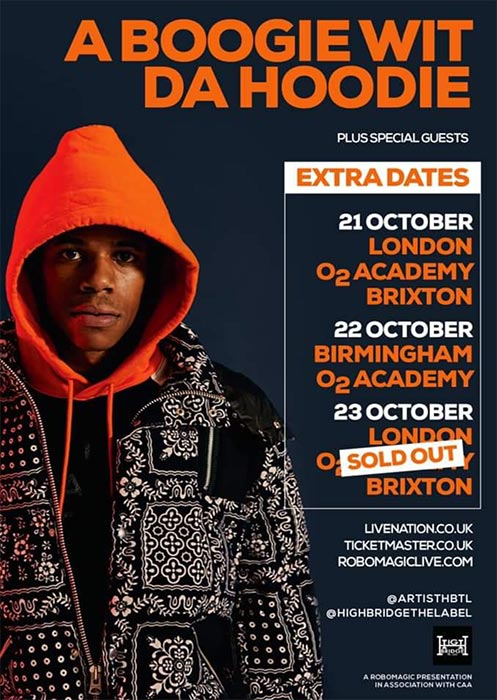 A Boogie Wit Da Hoodie at Brixton Academy on Wed 23rd October 2019 Flyer