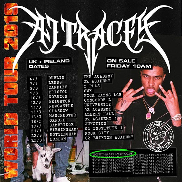 AJ Tracey at Brixton Academy on Sat 23rd March 2019 Flyer