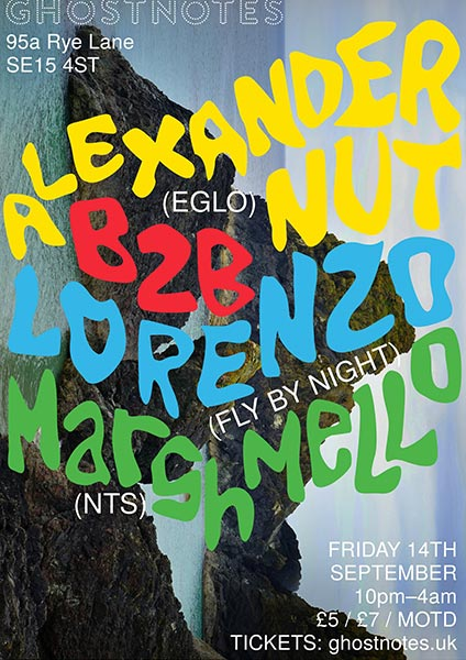 Alexander Nut at Ghost Notes on Fri 14th September 2018 Flyer