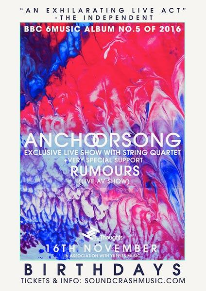 Anchorsong at Birthdays on Thu 16th November 2017 Flyer