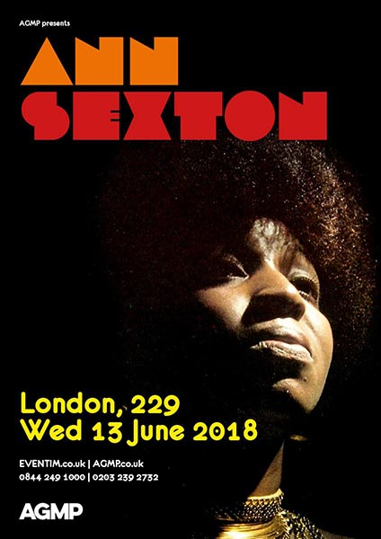 Ann Sexton at 229 The Venue on Wed 13th June 2018 Flyer