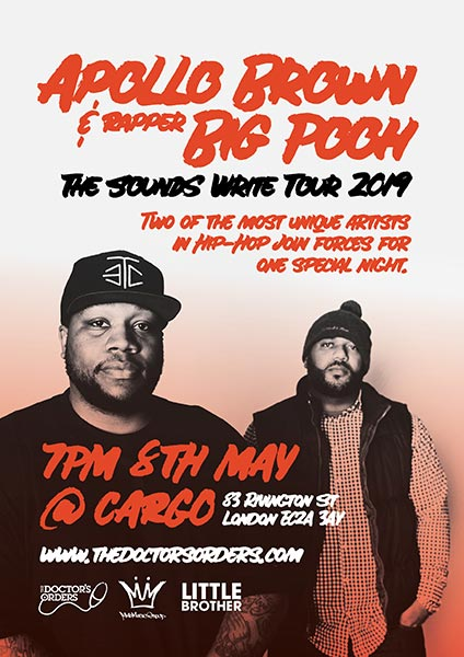 Apollo Brown & Rapper Big Pooh at Cargo on Wed 8th May 2019 Flyer