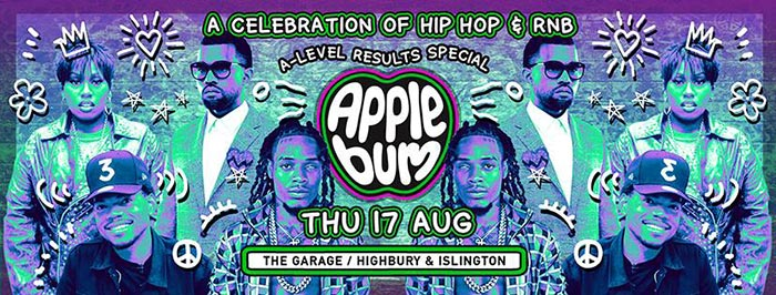 Applebum: A-level Results Special at The Garage on Thu 17th August 2017 Flyer