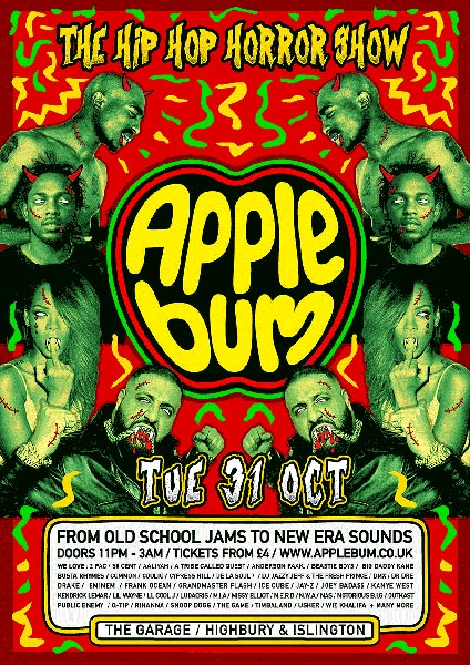 Applebum Halloween Hip Hop Horror Show at Finsbury Park on Tuesday 31st October 2017 Flyer