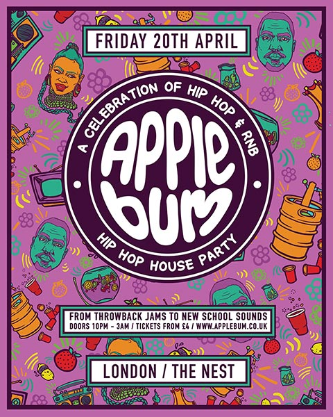 Applebum Hip Hop House Party at The Nest on Fri 20th April 2018 Flyer