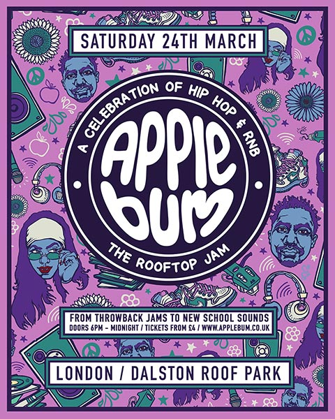 Applebum Hip Hop Rooftop Jam at Dalston Roof Park on Mon 19th March 2018 Flyer