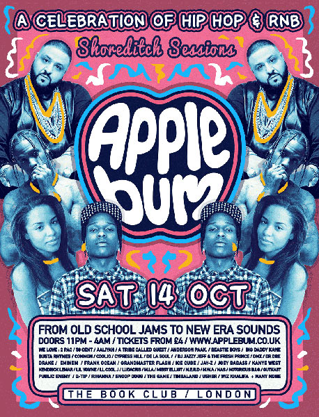 Applebum at Book Club on Sat 14th October 2017 Flyer
