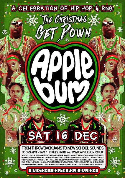 Applebum at Brixton Rooftop on Sat 16th December 2017 Flyer
