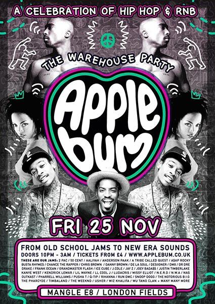 Applebum Warehouse Party at Hoxton Bar & Kitchen on Friday 25th November 2016 Flyer
