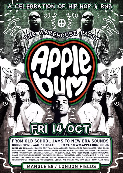 Applebum Warehouse Party at The Forum on Friday 14th October 2016 Flyer