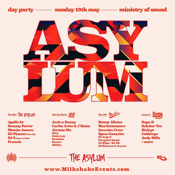 The Asylum Day Party at Ministry of Sound on Sun 19th May 2019 Flyer