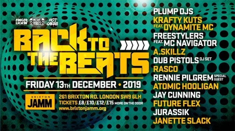 Back To The Beats at Brixton Jamm on Fri 13th December 2019 Flyer