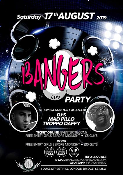 Bangers LDN at Number1 London on Sat 17th August 2019 Flyer