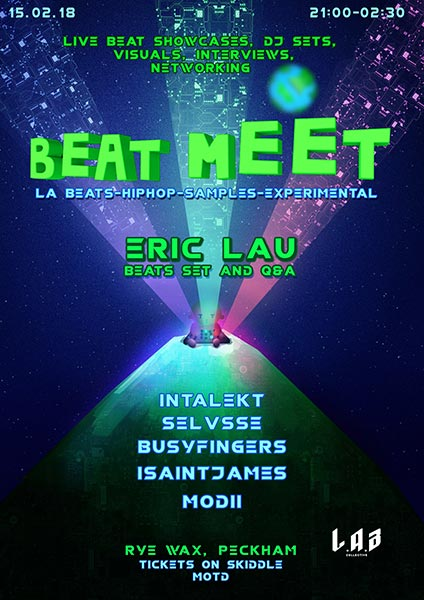 Beat Meat w. Eric Lau at Rye Wax on Thu 15th February 2018 Flyer