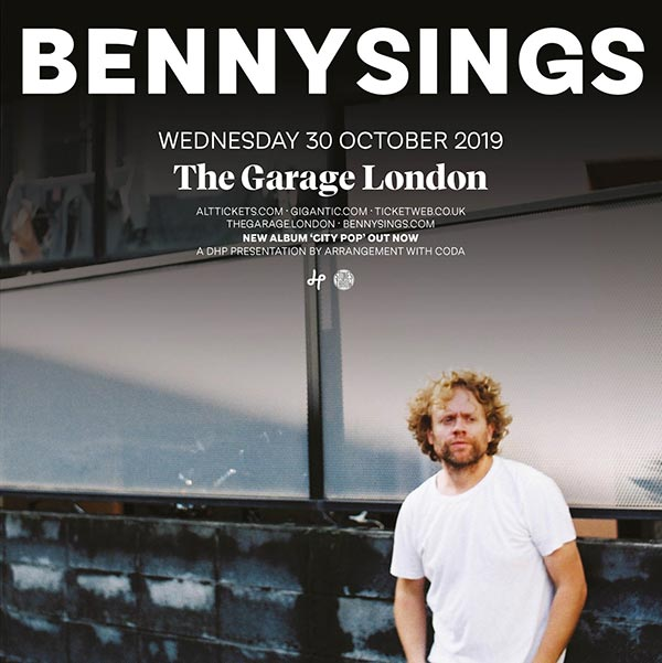 Benny Sings at The Garage on Wednesday 30th October 2019 Flyer