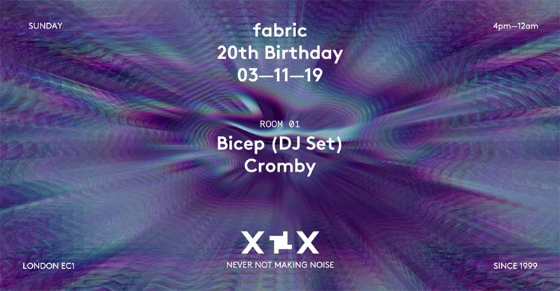 Bicep at Fabric on Sun 3rd November 2019 Flyer