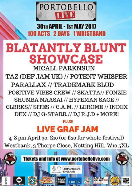Blatantly Blunt Showcase at Portobello Live at The Forum on Sunday 30th April 2017 Flyer