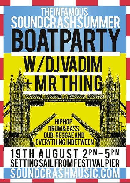 The Soundcrash Boat Party at Festival Pier on Sat 19th August 2017 Flyer