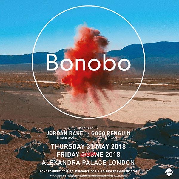 Bonobo at Alexandra Palace on Fri 1st June 2018 Flyer