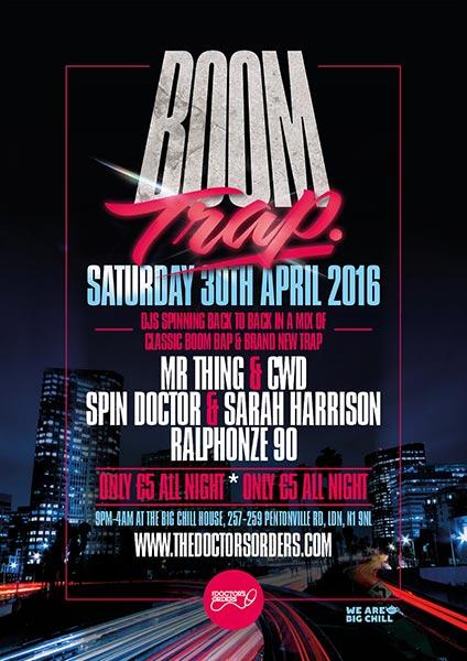 Boom Trap at KOKO on Saturday 30th April 2016 Flyer