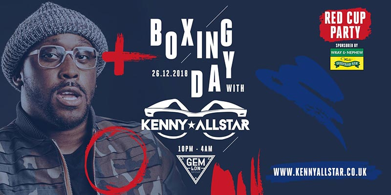 Boxing Day With Kenny Allstar at Gem Bar on Wed 26th December 2018 Flyer
