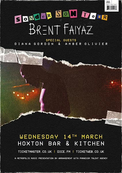 Brent Faiyaz at Hoxton Square Bar & Kitchen on Wed 14th March 2018 Flyer
