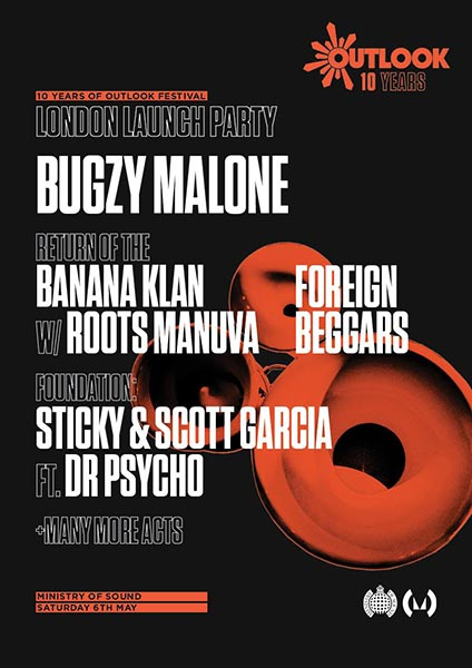 10 Years of Outlook London Launch Party at Ministry of Sound on Sat 6th May 2017 Flyer
