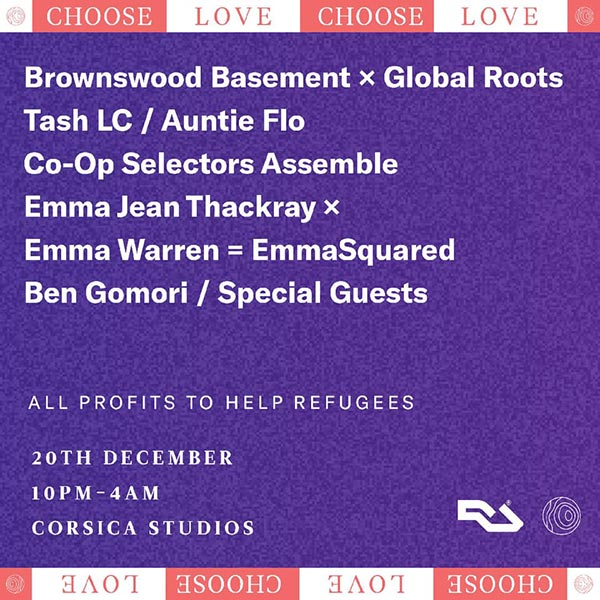 Worldwide FM x Choose Love Xmas Party at Corsica Studios on Thu 20th December 2018 Flyer