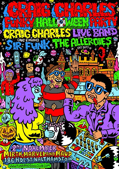 Craig Charles Funky Halloween Party at Mirth, Marvel and Maud on Sat 2nd November 2019 Flyer