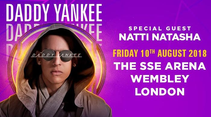 Daddy Yankee at Wembley Arena on Fri 10th August 2018 Flyer