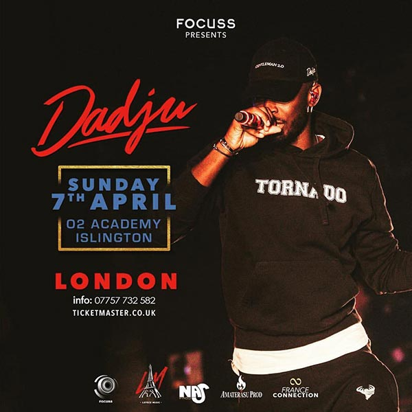 Dadju at Islington Academy on Sunday 7th April 2019 Flyer