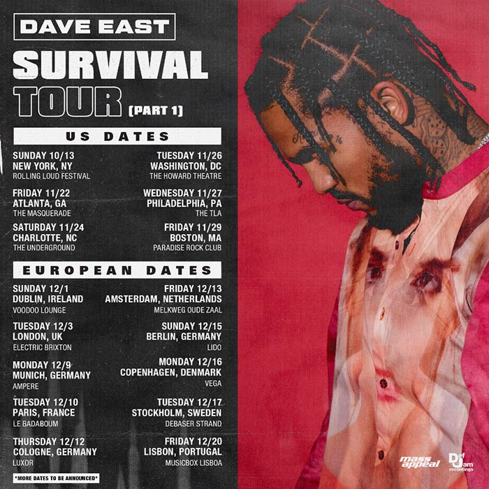 Dave East at Electric Brixton on Tuesday 3rd December 2019 Flyer