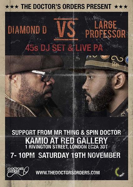 Diamond D vs Large Professor at Hoxton Bar & Kitchen on Saturday 19th November 2016 Flyer