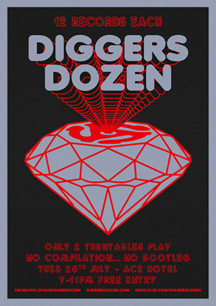 Diggers Dozen at Trapeze on Tuesday 26th July 2016 Flyer