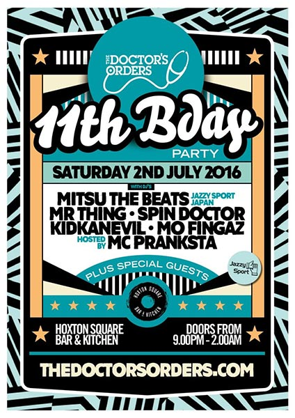 Doctor's Orders 11th Birthday at Trapeze on Saturday 2nd July 2016 Flyer